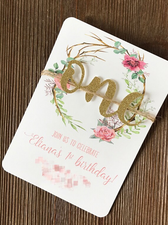 Shabby Chic Glitter Invitations