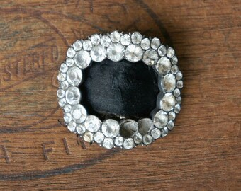 Antique French 18th Century Rose Cut Paste Silver Shoe Buckle Photo Prop