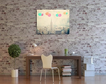 New York City - 30x40 canvas gallery wrap - Balloons Over the City- Modern Office Decor - home decor - large wall art