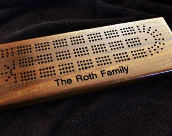Custom cribbage board personalized with names. Made from solid walnut wood. Gift for him, gift for her with superior craftsmanship