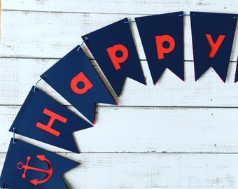 Birthday banner, happy birthday, nautical party, first birthday, banner, birthday party, birthday decorations, party banner