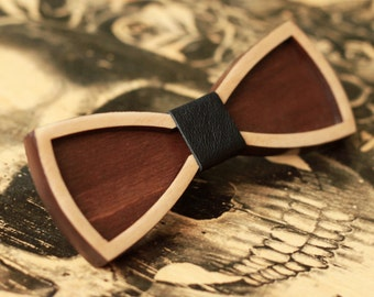3D Wood Bow Ties with black leather. Standard size for men or Small size for women or kids. For wedding, for party, for birthday.