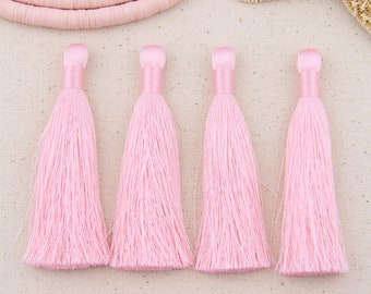 "Silky Luxe Tassels: Pink 3.5""  Silky Jewelry Making Tassel, Almost Mauve, Tassel Supplier, Mala Making, Jewelry Making Supplies, 2 Pieces"