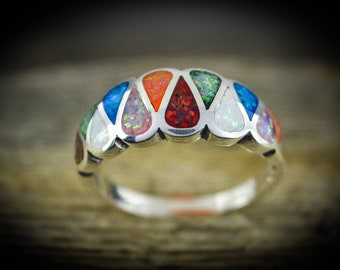 Sterling silver Teardrop ring with 6 different colors of Cultured Fire Opal inlay Sizes ~ 4 thru 9.5