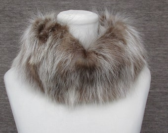 Real Pelzschal loop Genuine opossum fur