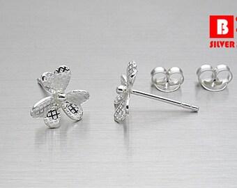 925 Sterling Silver Earrings, Flower Earrings, Stud Earrings (Code : EC94)
