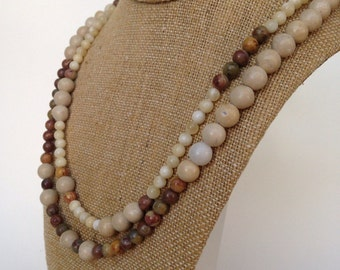 Layered Necklace and Earring Set Beaded Stone Earthtone Rustic and Earthy