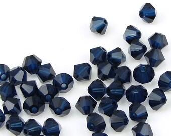 48 DARK INDIGO BLUE 4mm Bicones 5301 5328 Swarovski Crystal Beads - Very Dark Navy Blue