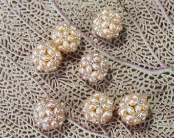 pearl cluster ball 1 ea Natural Peachy Pink Color