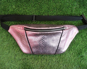 Metallic Crocodile Prink Pink Bumbag/ Fanny Pack/ Festival Bag (with silver ykk zip)