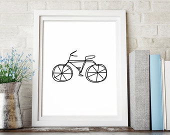 Bicycle Art, Minimalist Poster, Digital Download Art, Large Wall Art, Black and White Print, Printable Art, Line Drawing, Downloadable Print