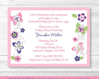 Pink Butterfly Baby Shower Invitation / Butterfly Baby Shower Invite / Pink & Purple / INSTANT DOWNLOAD Editable PDF A248