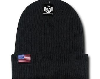 USA American Flag Label Acrylic Cuff Folded Beanie Hat (R96-USA)