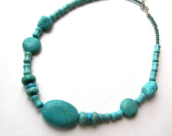 Turquoise howlite necklace 56cm