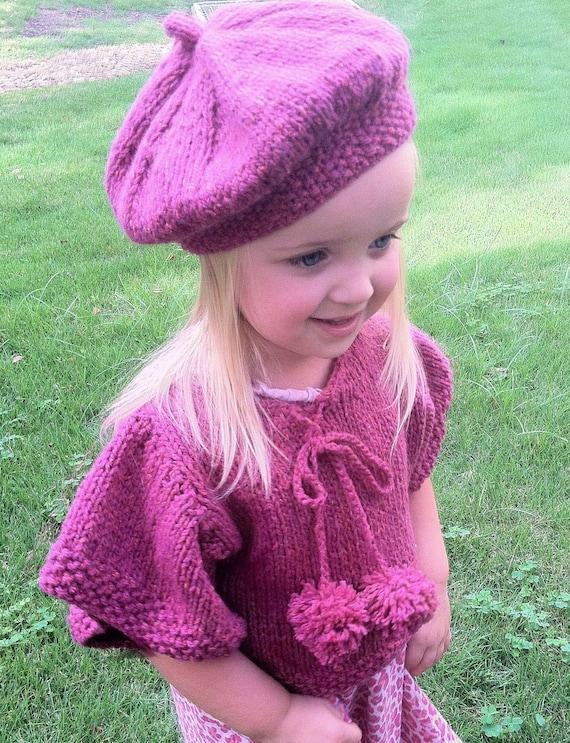 Knitting Patterngirls Knit Ponchoknit Capeletberetpattern