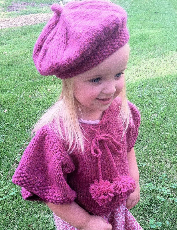 Knitting Pattern,Girls Knit Poncho,knit capelet,Beret,pattern ...
