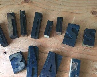 12 Vintage Wooden Block Numbers,Letterpress