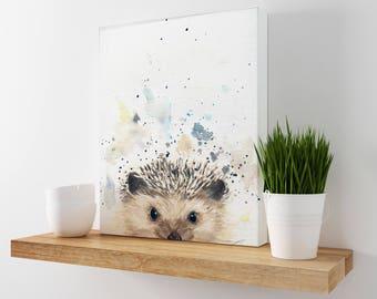 Hedgehog Art - Woodland Animal - Nursery Animals - Cabin Decor - Woodland Nursery - Hedgehog Art Print -  Cottage Decor - Animal Wall Decor