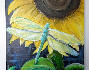 Sunflower and Dragonfly Painting on Canvas