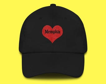 MEMPHIS Cap with the word Memphis inside of an Embroidered Red Heart with FREE SHIPPING
