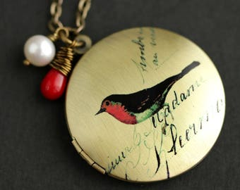 Red Robin Locket Necklace. Photo Locket. Bird Necklace with Red Coral Teardrop and Fresh Water Pearl. Red Necklace. Bronze Locket.