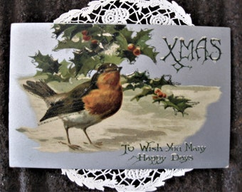 Sweet Vintage Bird Christmas Postcard, Holly, Berries, Very Lightly Glittered