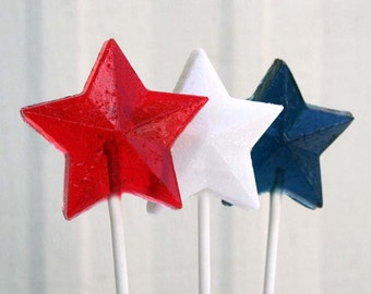 Red, White and Blue Patriotic Stars Wedding Favors - 45 Lollipop Pack - Hard Candy Gems - 4th of July Favors, Patriotic Wedding Favors