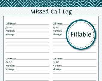 Missed Call Log   Fillable PDF Printable   Household Organizer   Printable  PDF   Instant Download