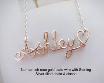 Dainty custom name necklace, Wire name necklace, Personalized name necklace