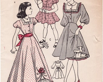 FF 1940s Butterick 4636 Girls Dress and Petticoat, Party Dress, Maxi Dress Vintage Sewing Pattern, Size 8, Breast 26, UnPrinted
