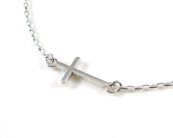 Sterling Silver Cross Pendant Necklace / Silver Cross Necklace /Sideways Cross Silver necklace / Cross Necklace /Silver Cross Necklace/ NM06