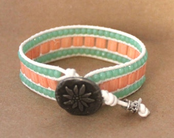Peach and Mint Green Leather Bracelet
