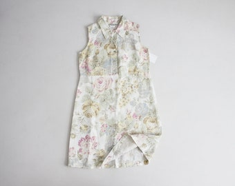 floral linen dress | pastel floral dress | sleeveless collared dress