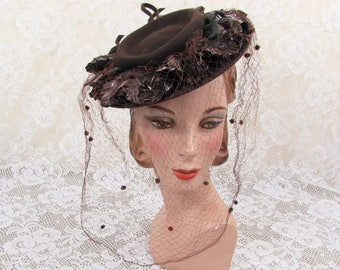 Vintage 40s New York Creations tilt hat - brown felt, cellophane ruffles, netting
