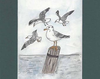 Original Pen Ink and Watercolor Painting of Seagulls Over Water - With 10 x 8 inch Mat in Dark Green
