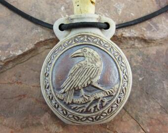 Peruvian Ceramic High Fire Raven Bottle