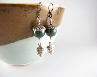 Green Jasper Acorns and Silver Oak Leaves Earrings with Free Shipping