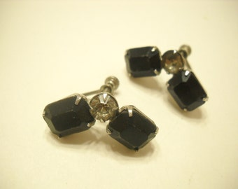 Vintage Black Glass & Clear Rhinestone Screwback Earrings (383)