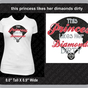 This Princess Likes Her Diamonds Dirty Baseball or Softball SVG Cutter Design INSTANT DOWNLOAD