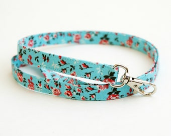 Blue and Red Floral Fabric Lanyard with Swivel Clasp - Long Key Lanyard - ID Strap - Teacher Lanyard - Cute Skinny Lanyard - 1/2 Inch Wide