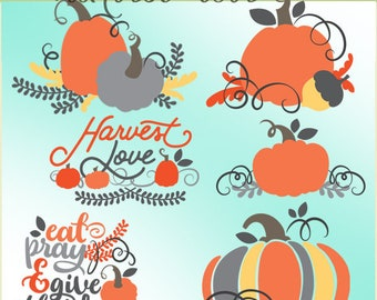 Harvest Love Clipart -Personal and Limited Commercial Use- pumpkins and fall clip art