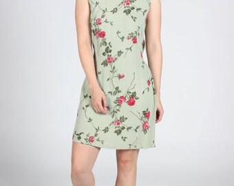 GREEN ROSE Flower Print DRESS Womens Medium M Vintage Summer Midi Ladies Floral Flowers Tunic Tie Romantic Crepe