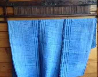 Hmong Hemp Batik Hilltribe Light Blue Vintage Craft supplies