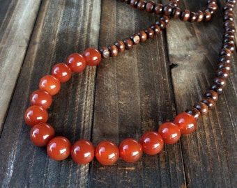 Long beaded necklace - gemstone beaded necklace - boho necklace - wood beaded necklace