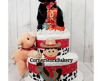 Cowboy Diaper Cake| Cowboy Baby Shower Centerpiece| Farm Diaper Cake| Baby Boy Diaper Cake|  Horse Diaper Cake| Piggy Diaper Cake| Baby Gift