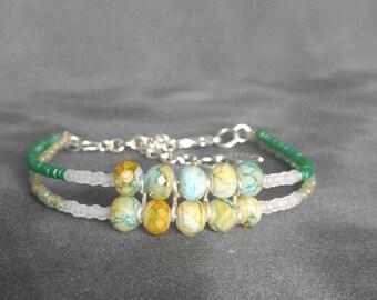 ocean, green, orange, blue thunder glass beads, braclet
