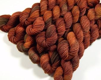 Mini Skeins, Hand Dyed Yarn, Sock Weight 4 Ply Superwash Merino Wool - Spice - Indie Dyed Rust Orange Autumn Fingering Weight Sock Yarn