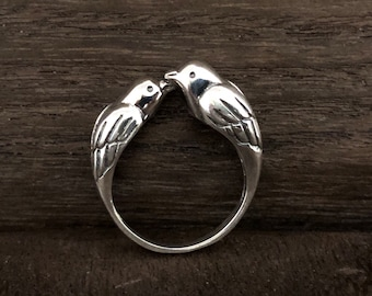 Sparrows Ring - Silver Sparrow Ring // Silver Bird Ring // Sterling Bird Ring // 925 Sterling Silver