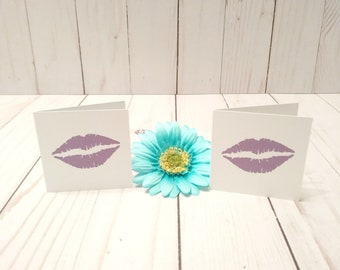 Blank Mini Card Set of 10 / Lip Cards/ Stationery Card Set/ Mini Card Set/ Mini Cards/ Lunch Box Notes/ Thank You Cards/ White Cards/ Purple