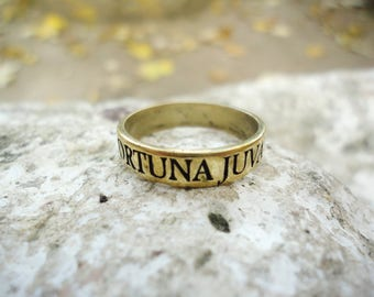 Audaces fortuna juvat latin phrase ring, fortune favors brave bronze ring, fortune helps the brave inspiration quote ring for man